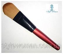 Кисть для нанесения пудры с деревянной ручкой