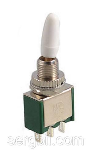 Мини тумблер KNX-1-D1, 1 перекл. контакт, 6А, 125В, изолированная ручка