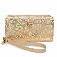 Женский кожаный кошелек Katerina Fox золота цвета из натуральной кожи (KF-584)