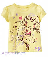 OldNavy Футболка жёлтая, Девочка на морском коне