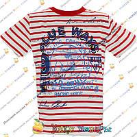 Полосатые футболки с корабликом для мальчика от 5 до 8 лет (4026-3)