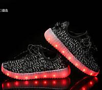 Детские Светящиеся LED кроссовки Yeezy Boost black Kid черные