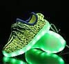 Детские Светящиеся LED кроссовки Yeezy Boost green Kid зеленые