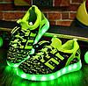 Детские Светящиеся LED кроссовки Textile green Kid салатовые