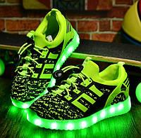 Детские Светящиеся LED кроссовки Textile green Kid салатовые, фото 1