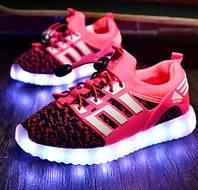 Детские Светящиеся LED кроссовки Textile rose Kid розовые, фото 1