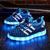 Детские Светящиеся LED кроссовки Textile blue Kid синие