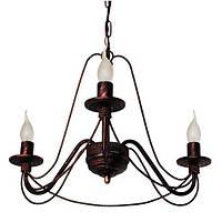 Люстра кованая Косички 3 лампы Старая медь