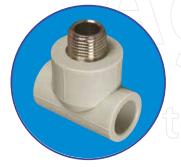 Тройник с металл. резьбой наружной 1/2 ASG-plast d20 мм