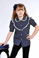 Красивая детская блуза темно-синего цвета, в горошек. Размер 122-140