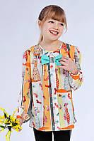 Яркая детская блуза свободного кроя, с бантиком. Размер 122-140