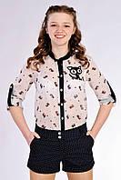 Стильные короткие шорты на девочку подростка, черного цвета, в горошек. Размеры: 146-158