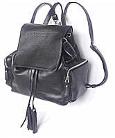 Zaino Nero - Чёрный кожаный рюкзак с боковыми карманами