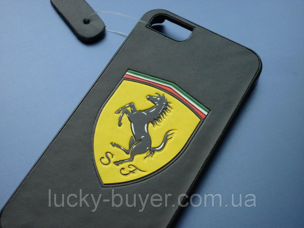 Чехол с логотипом Ferrari для iPhone 5 5S кожа
