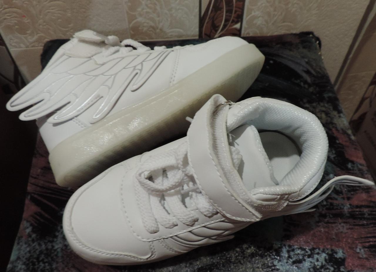 """Кроссовки детские светящиеся. LED кроссовки с крылышками """"Ангел"""". USB кроссовки. ЭКО кожа, подошва полиуретан."""