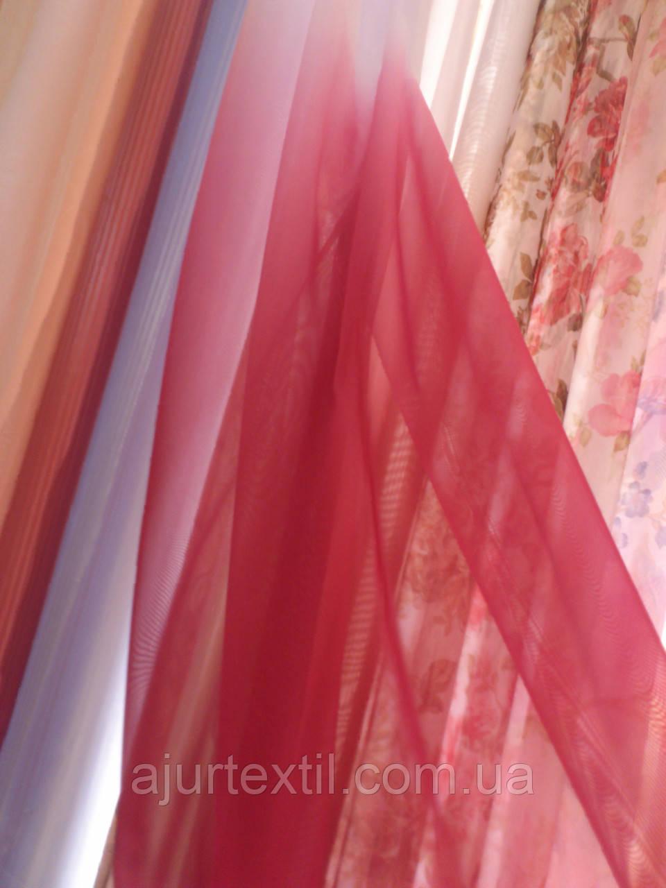 Тюль вуаль бордово-вишнево-белая