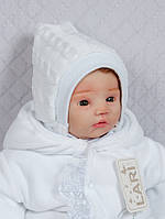 Шапочка с завязками вязан. ( белый, вяз.полотно акрил, зима( 0-1 мес))