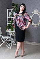 Красивое трикотажное платье увеличенных размеров, с шифоном в цветочный принт