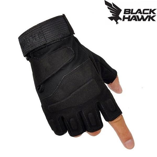 Тактические перчатки BlackHawk (Беспалый) Black.