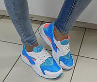Женские Кроссовки Хуарачи, легкие, в сетку, цвет: белый с голубым