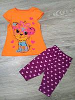 Летний костюмчик с бриджами и футболочкой  для девочки от 1 до 4 лет