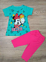 Летний костюмчик с бриджами и футболочкой  для девочки от 4 до 7 лет