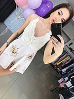 Женский стильный комбез шорты с гипюром , фото 1