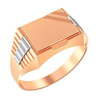 Стильная золотая печатка из комбинированного золота