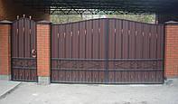 Ворота с калиткой из профнастилом
