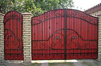 Ворота из профнастилом с коваными элементами