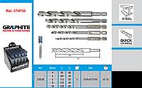 Сверла по металлу HSS-G, шестигранный хвостовик, набор из 5 шт., 4, 5, 6, 8, 10 мм, GRAPHITE 57H750.