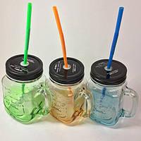 Стеклянная летняя кружка HAPPY TO DRINK с трубочкой 500МЛ