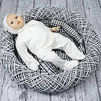 Ясельный комплект на выписку для новорожденного с шапочкой р.56 (молочный)