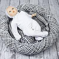 Комплект с начесом в роддом для малышей с шапочкой р.56 (белый)