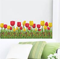 """Наклейка на стену, наклейка цветок, наклейки на шкаф """"Тюльпаны желтые и красные"""", 25*135см (50*70см)"""