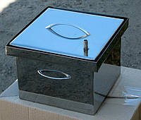 Коптильня с гидрозатвором для горячего копчения 2х ярусная из нержавеющей стали 300х300х200