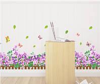 """Наклейка на стену, наклейка цветок, наклейки на шкаф """"фиолетовые цветы"""", 36*113см (лист 40*60см)"""