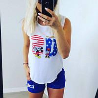Женский красивый костюм: футболка и шорты (2 цвета), фото 1