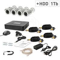Комплект видеонаблюдения Tecsar AHD 4OUT + HDD 1TB
