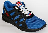 Мужские кроссовки с сеткой синего цвета, черная подошва