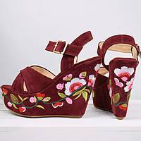 Босоножки женские Dolce бордо с вышивкой, летняя обувь