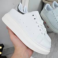 Кроссовки женские Queen Collection белые с серебром, спортивная обувь