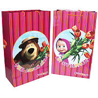 Пакет Маша и Медведь, вертикальный 52х31х16 см. Тюльпаны малиновый.