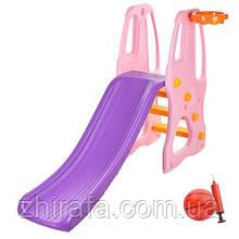 Детская горка с баскетбольным кольцом Bambi, Розовая