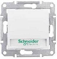Выключатель кнопочный с подсветкой и держателем для надписи, Белый, Sсhneider Electric (Шнайдер) SEDNA (Седна)