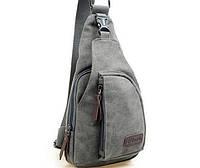Чоловічий  рюкзак із тканини на одне плече. Сірий