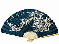 Веер китайский Сакура на черном фоне