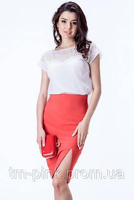 """Блуза гіпюрна кокетка """"Tiffany"""" Блуза гипюр молочная"""