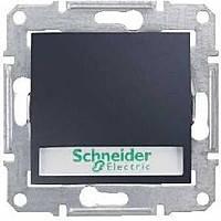 Выключатель кнопочный с подсветкой и держателем для надписи, графит, Sсhneider (Шнайдер) SEDNA (Седна)