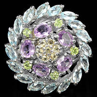 Серебряное Кольцо с Натуральными Аметистами Перидотами Топазами и Цитринами